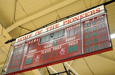 Scoreboard at Elyria High gym/    Steve Manheim
