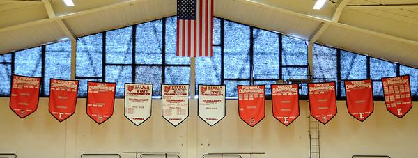 Banners in Elyria High gym Feb. 26.  Steve Manheim