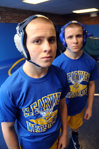 Mike, front, and Matt Holligsworth of Clearview wrestling on Jan. 26.  Steve Manheim
