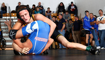 Black Rivers Sebastian Vidka pins Western Reserves Gage Griffith during their round robin match at 106LBS. Photo by Aaron Josefczyk