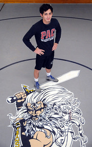 Lorain wrestler Eli Garcia  at the practice gym on Feb. 13.  Steve Manheim