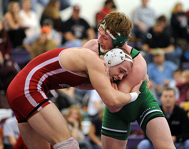 Austin Tackett, left, of Brookside defeats Brandon Heidinger of Columbia in 171 wt. class Patriot Athletic conference championship at Keystone Feb. 12.  Steve Manheim