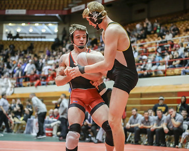 Elyria's J.T. Brown in control of his opponent from Massillon Perry during the Ohio State dual wrestling tournament Feb. 12. JOE COLON / CHRONICLE