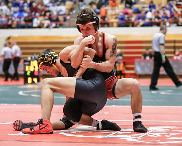 Elyria's Brendon Fenton works on securing an armbar against his opponent from Westerville North at the Ohio State Dual tournament Feb. 12. JOE COLON / CHRONICLE