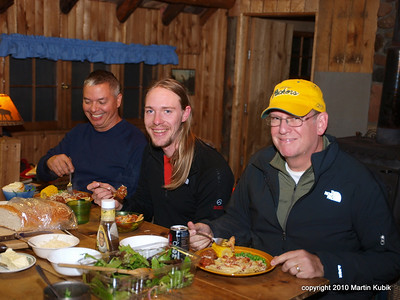 Why are these guys smiling:  Rebecca made pasta and home cooked meatballs.  Later we took sauna and a dip in very, very cold Bow Lake.   Slept like a baby.