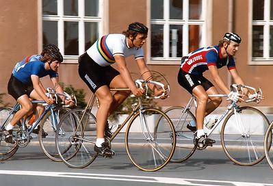 12.9.1982: Fredy Schmidtke (Köln-Worringen) als Weltmeister im 1000 Meter Zeitfahren vor Rainer Brendel (RSC Fürth) beim Kriterium in Erlangen.