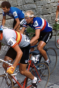 In honour of 2-times Tour de France winner Laurent Fignon, who died on August 30th, 2010, at the age of only 50. He was a real fighter, on the bike and against cancer. This image shows Laurent Fignon during the Worldchampionship Professional Road Race at Altenrhein, Switzerland, September 1983. Rest in Peace.