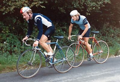 Reimund Dietzen (RV Germania 05 Zewen) 'El Rubio' vor Martin Pudelko (RSG Nürnberg) beim schweren Spalter Bergrennen am 27.9.1981.