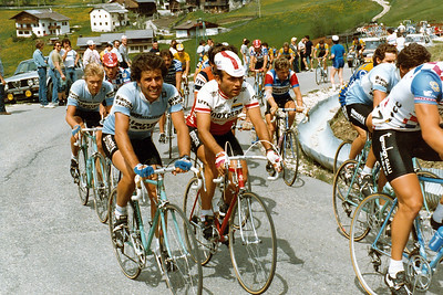 Giro 83 - Alf Segersall, Silvano Contini, background Urs Freuler, Passo Campolongo