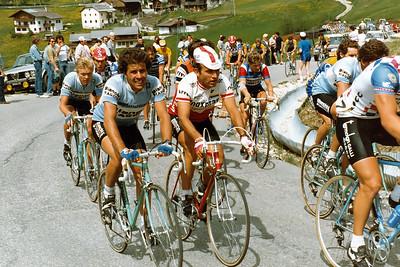 Giro 83 - Alf Segersall, Silvano Contini, background Urs Freuler, Passo Campolongo