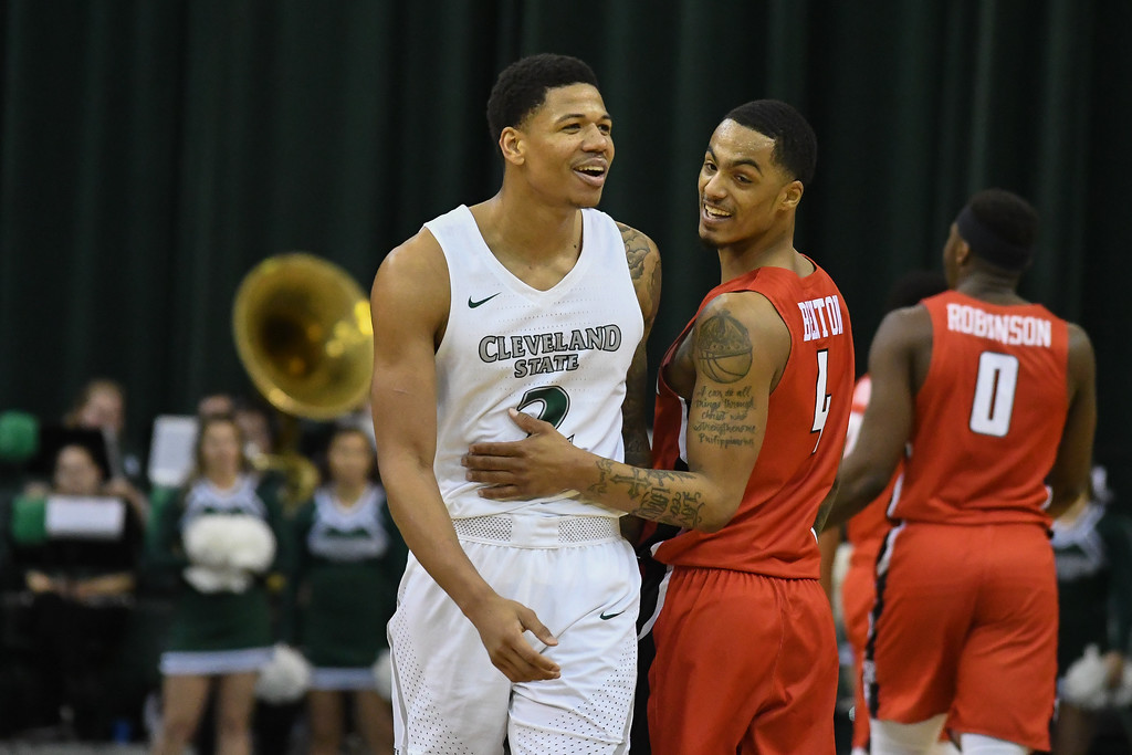 . Eric Bonzar�The Morning Journal<br> The Youngstown State Penguins traveled to Cleveland, Jan. 1, 2018, to face the Cleveland State Vikings in a Horizon League match-up. The Penguins improved to 3-11 with a 80-77 win over the Vikings.