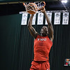 Eric Bonzar—The Morning Journal<br> Lorain High School graduate and Youngstown State University freshman Naz Bohannon throws down a dunk, during warm ups, prior to the start of the Penguin's Horizon League game against the Cleveland State Vikings, Jan. 1, 2018. The Penguins improved to 3-11 with a 80-77 win over the Vikings.
