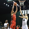 Eric Bonzar—The Morning Journal<br> Youngstown State's Devin Haygood (2) shoots over Cleveland State's Stefan Kenic (13), Jan. 1, 2018.