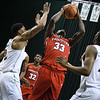 Eric Bonzar—The Morning Journal<br> Youngstown State forward Naz Bohannon pulls in a rebound, Jan. 1, 2018.