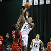 Eric Bonzar—The Morning Journal<br> Cleveland State's Anthony Wright (2) shoots over Youngstown State forward Naz Bohannon (33).