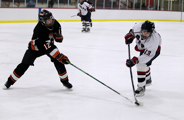 Record-Eagle/Keith King <br /> The Bay Reps' Mark Mol tries to shoot the puck against Cheboygan's Stan Swiderek Wednesday, February 16, 2011 at the Kaliseum in Kalkaska.