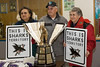 Grandparents of Jonathan Cheechoo, Beatrice and George Cheechoo, Maude Tyrer with the Maurice Richard trophy.
