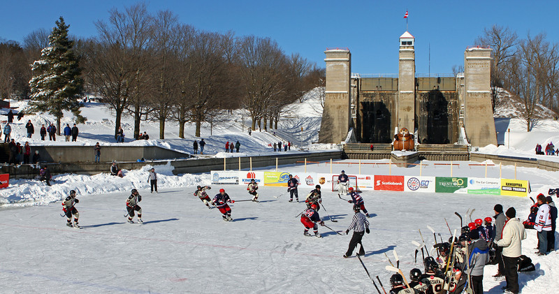 What a backdrop for a hockey game!