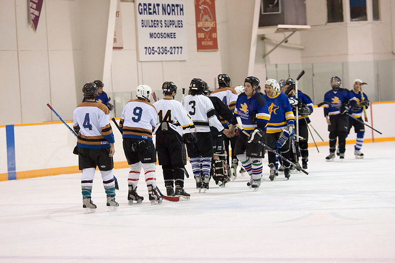 Handshakes after a game between the Falcons and the Selects.