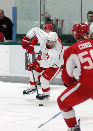 Record-Eagle/Keith King<br /> The Detroit Red Wings' Pavel Datsyuk controls the puck Saturday, September 18, 2010 during a Red Wings training camp scrimmage at Centre Ice.