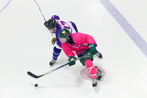 Record-Eagle/Jan-Michael Stump<br /> Traverse City West's Brady Douglass (10) skates past Traverse City Central's Charlie Douglass (17) in the third period of Wednesday's game at Howe Arena.