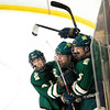 Record-Eagle/Jan-Michael Stump<br /> Traverse City West players celebrate Shane Totten's (15) shorthanded, unassisted goal in the second period of Wednesday's win over Traverse City Central at Howe Arena.