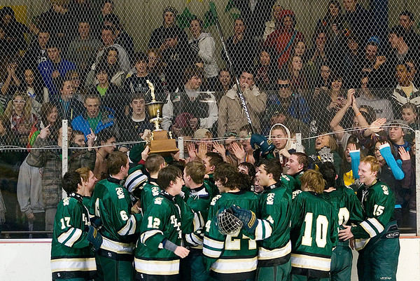 Record-Eagle/Jan-Michael Stump<br /> Traverse City West players celebrate their win with fans after defeating Traverse City Central 6-1 Wednesday at Howe Arena.
