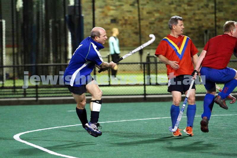 10-9-12. Maccabi veterens hockey defeat Hawthorn in the grand final 2-1. Gary Brown scoring the first goal. Photo: Peter Haskin