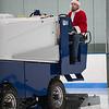 Scott Demont, a worker at the Gardner Veteran's Rink delivers the gift of fresh ice between periods of the Leominster-St Bernard's girls ice hockey game. SENTINEL&ENTERPRISE/ Jim Marabello
