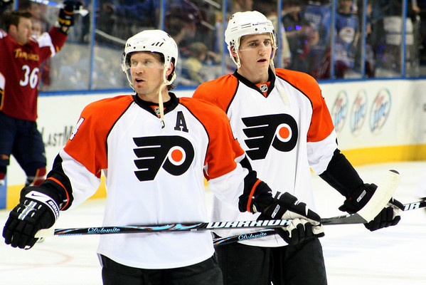 #44 Kimmo Timonen and #25 Matt Carle © 2008 Joanne Milne Sosangelis. All rights reserved.