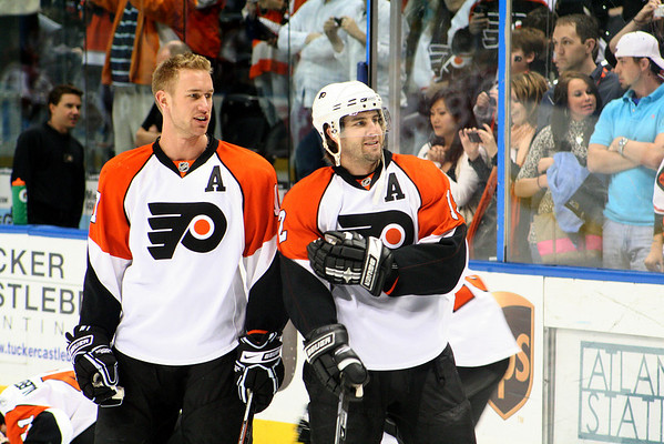 #17 Jeff Carter and #12 Simon Gagne © 2008 Joanne Milne Sosangelis. All rights reserved.