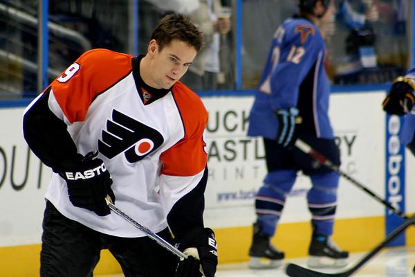 Scottie Upshall Philadelphia Flyers. © 2008 Joanne Milne Sosangelis. All rights reserved.