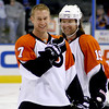 Jeff Carter, left, and Scott Hartnell. Philadelphia Flyers at Atlanta Thrashers. 20 March 2010.<br /> © Joanne Milne Sosangelis. All rights reserved.