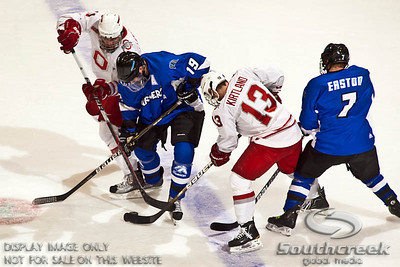 left to right - Ohio State University's Forward Alex Lippincott (#11), University of Alabama-Huntsville Forward Chris Fairbanks (#19),Ohio State University's Forward Paul Kirtland (#13) and University of Alabama-Huntsville Forward Jamie Easton (#7) vie for the puck in the third period of play at the Value City Arena in The Jerome Schottenstein Center in Columbus, Ohio Friday evening November 5, 2010. The Buckeyes defeated the Chargers 6-2.  (© James D. DeCamp / Southcreek Global Media)  | All Rights Reserved  | http://www.southcreekglobal.com | For all sales contact: sales@southcreekglobal.com | 1-800-934-5030