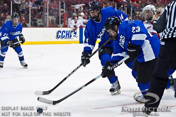 University of Alabama-Huntsville Defenseman Curtis deBruyn (#23) and University of Alabama-Huntsville Defenseman Nickolas Gatt (#14) in the second period of play at the Value City Arena at The Jerome Schottenstein Center in Columbus, Ohio Friday evening November 5, 2010. The Buckeyes defeated the Chargers 6-2.  (© James D. DeCamp / Southcreek Global Media)  | All Rights Reserved  | http://www.southcreekglobal.com | For all sales contact: sales@southcreekglobal.com | 1-800-934-5030
