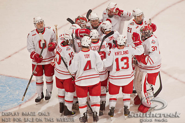 Ohio State University's hockey team celebrate their victory over the University of Alabama-Huntsville team at the Value City Arena at The Jerome Schottenstein Center in Columbus, Ohio Friday evening November 5, 2010. The Buckeyes defeated the Chargers 6-2.  (© James D. DeCamp / Southcreek Global Media)  | All Rights Reserved  | http://www.southcreekglobal.com | For all sales contact: sales@southcreekglobal.com | 1-800-934-5030