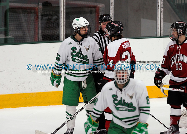 #16 PARKER MISMASH#34 BLAKE MANNING Edina Hornets vs. Centennial Cougars Junior Varsity HockeyOrder a photo print of any photo by clicking the 'Buy' link above.   TIP: Click the photo above to display a larger size