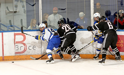 UAF 14 Morley battles for the puck on the half wall