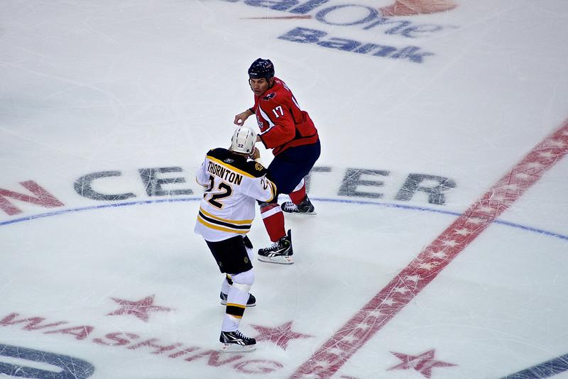 Caps (3) vs Bruins (2) Preseason at Verizon Center  King (17) and Thorton (22) fight in the 1st