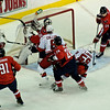 Washington Capitals vs Carolina Hurricanes at Verizon Center: Chad LaRose pots a loose puck