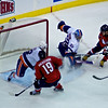 Washington's Alexander Ovechkin scores the overtime game winning goal vs the Islander's Nathan Lawson. March 1, 2011