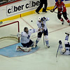 Washington Capitals vs Toronto Maple Leafs at Verizon Center: Martin Gerber keeps his eyes on a deflection