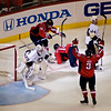 Washington's Tomas Fleischmann scores the game winning goal in the thrid. Washington Capitals vs Pittsburgh Penguins Stanley Cup Playoffs Round 2 Game 1 at the Verizon Center, May 02, 2009