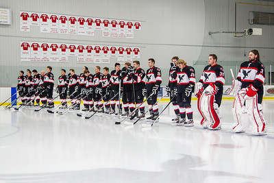 Lining up for the anthem