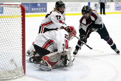 Joelle Charlebois trying to pry the puck from goalie Valerie Charbonneau and defence Erica Skinner