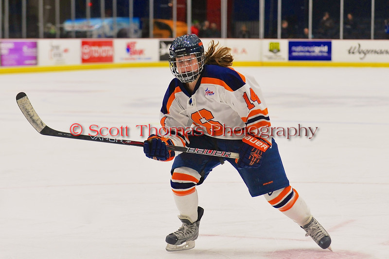 Syracuse University Orange Melissa Placentini (14) on the ice against the Cornell Big Red in NCAA Women Ice Hockey action at the Onondaga County War Memorial on Tuesday, December 3, 2013.