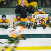 Head Coach Dean Fuller watches the Fitchburg State hockey team during the game against Westfield State on Thursday evening. SENTINEL & ENTERPRISE / Ashley Green