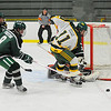 Fitchburg State's John Celli tries to get a shot off while defended by Plymouth State's Mike Freitag during Thursday's game.<br /> SENTINEL & ENTERPRISE / BRETT CRAWFORD