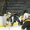 Fitchburg State's Sean Loebs and Plymouth State's Matt Vermillion battle for possession during Thursday's game.<br /> SENTINEL & ENTERPRISE / BRETT CRAWFORD