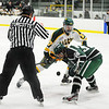 Fitchburg State's Jake Martin faces off with Plymouth State's Andrew Wigg during Thursday's game.<br /> SENTINEL & ENTERPRISE / BRETT CRAWFORD